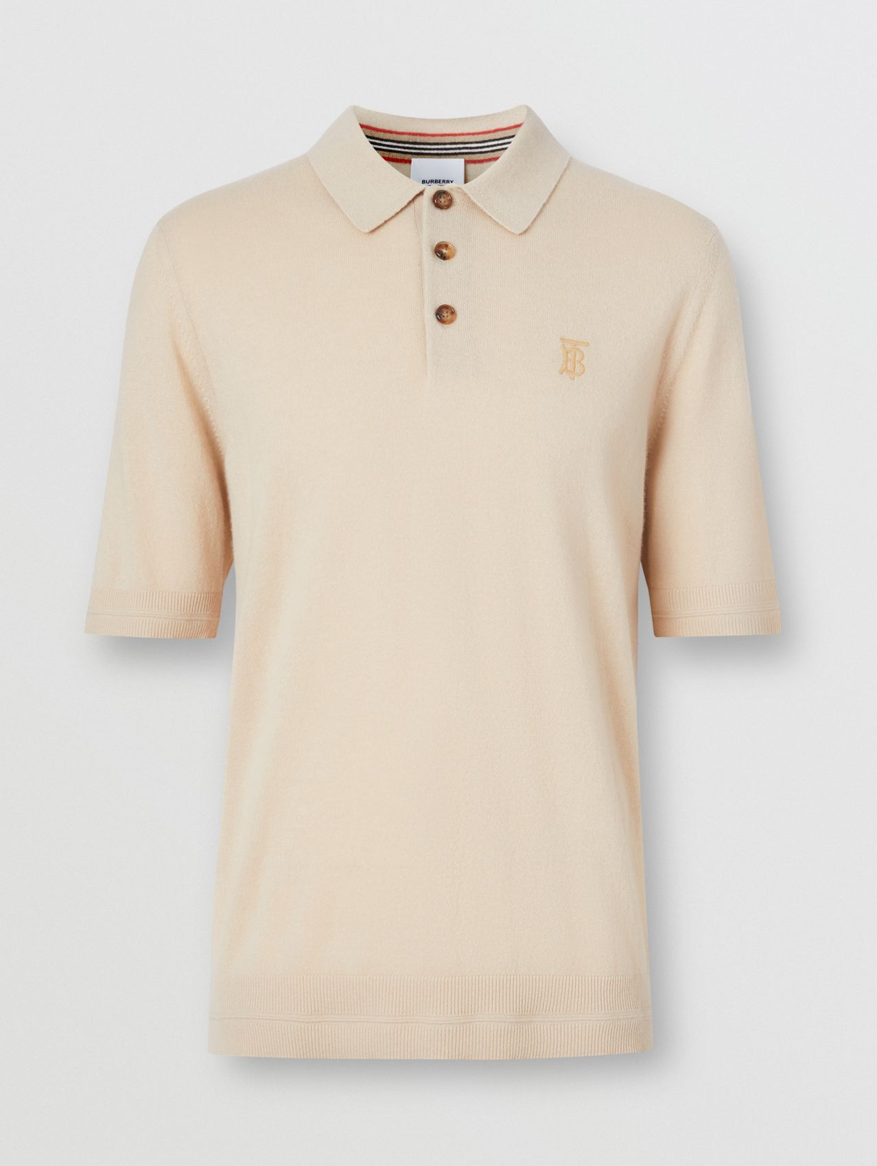 Monogram Motif Cashmere Polo Shirt in Soft Fawn