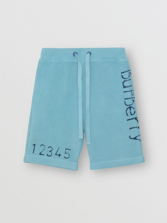 Stencil Logo Print Cotton Drawcord Shorts in Bright Cyan Blue