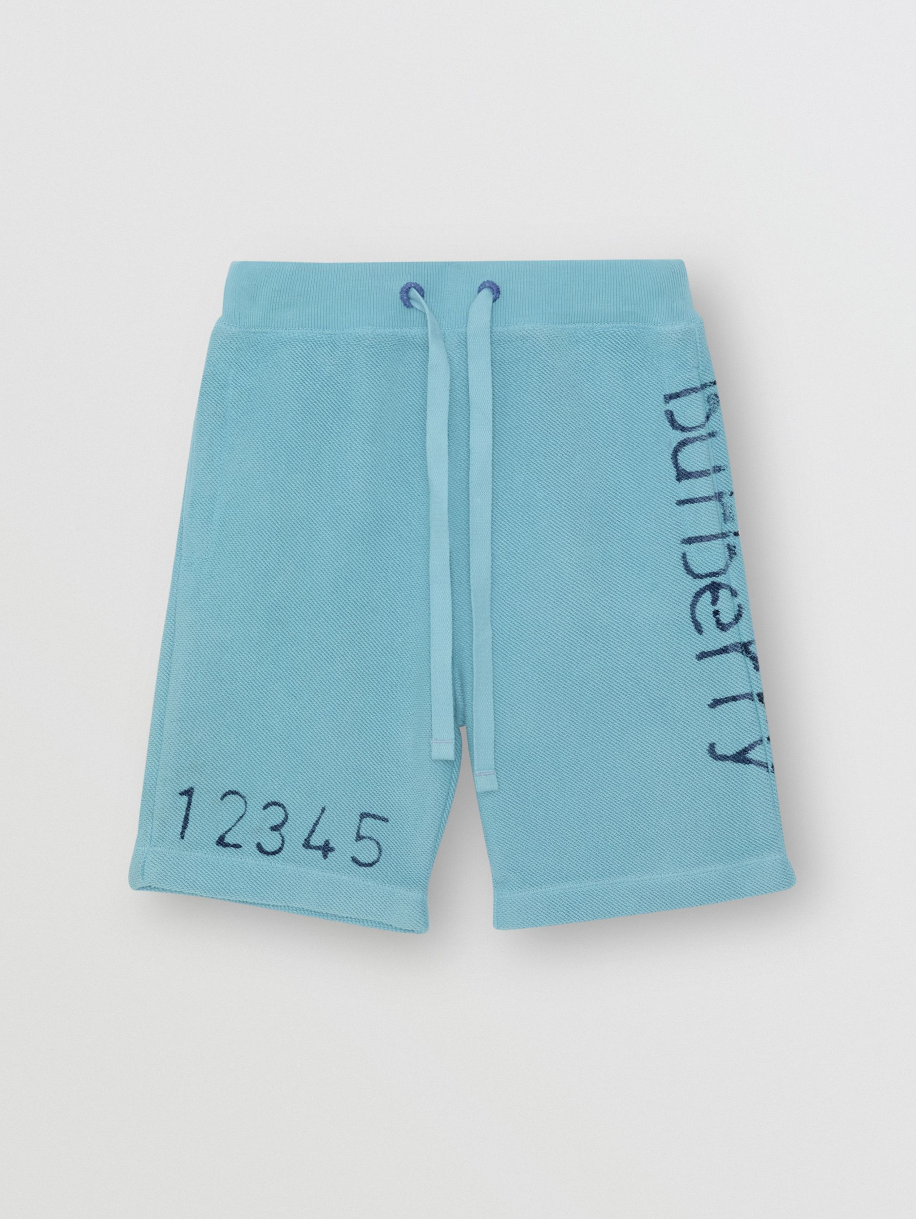 Stencil Logo Print Cotton Drawcord Shorts in Bright Cyan Blue - Children | Burberry - 1