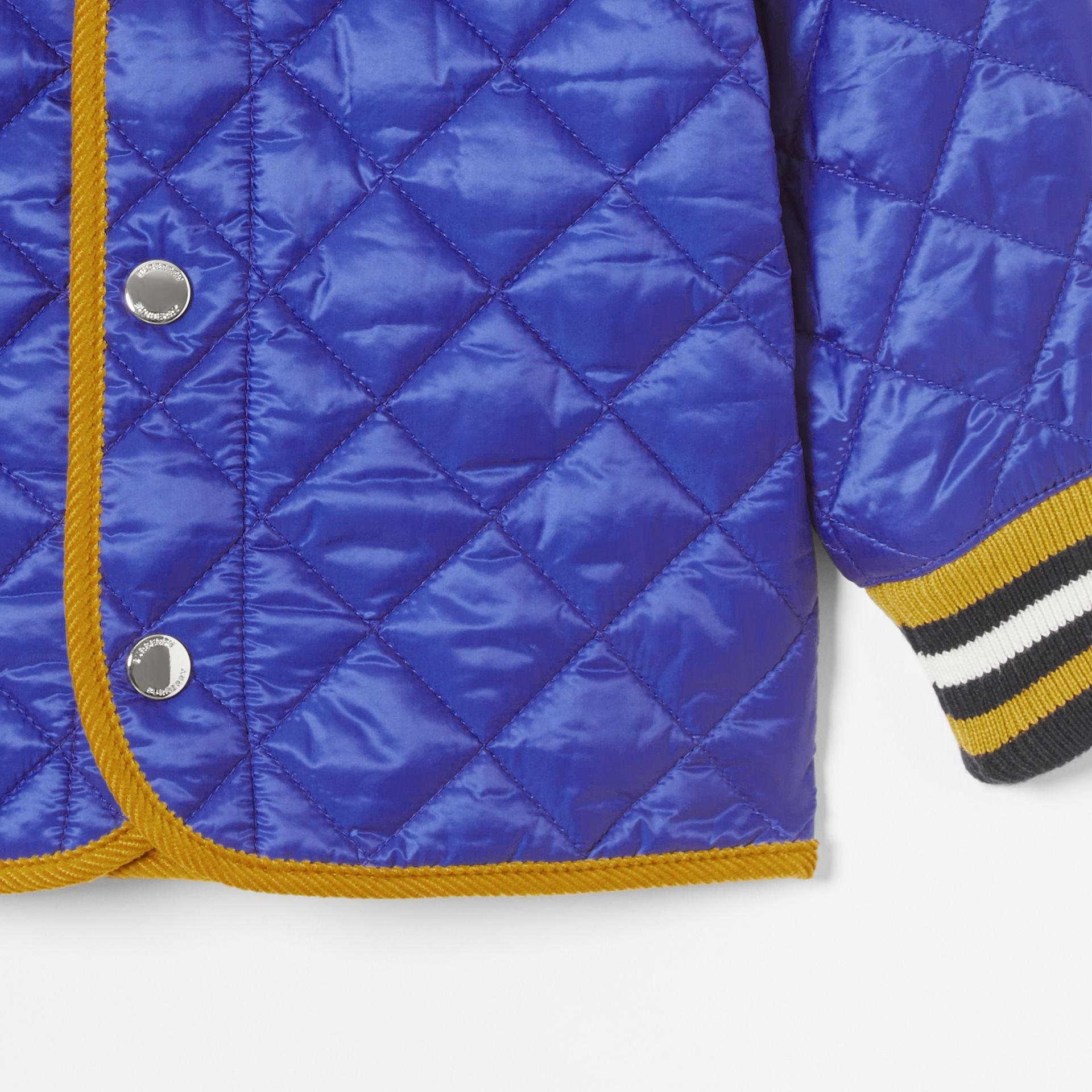 Corduroy Trim Lightweight Diamond Quilted Jacket in Dark Cobalt Blue - Children | Burberry United Kingdom - gallery image 5