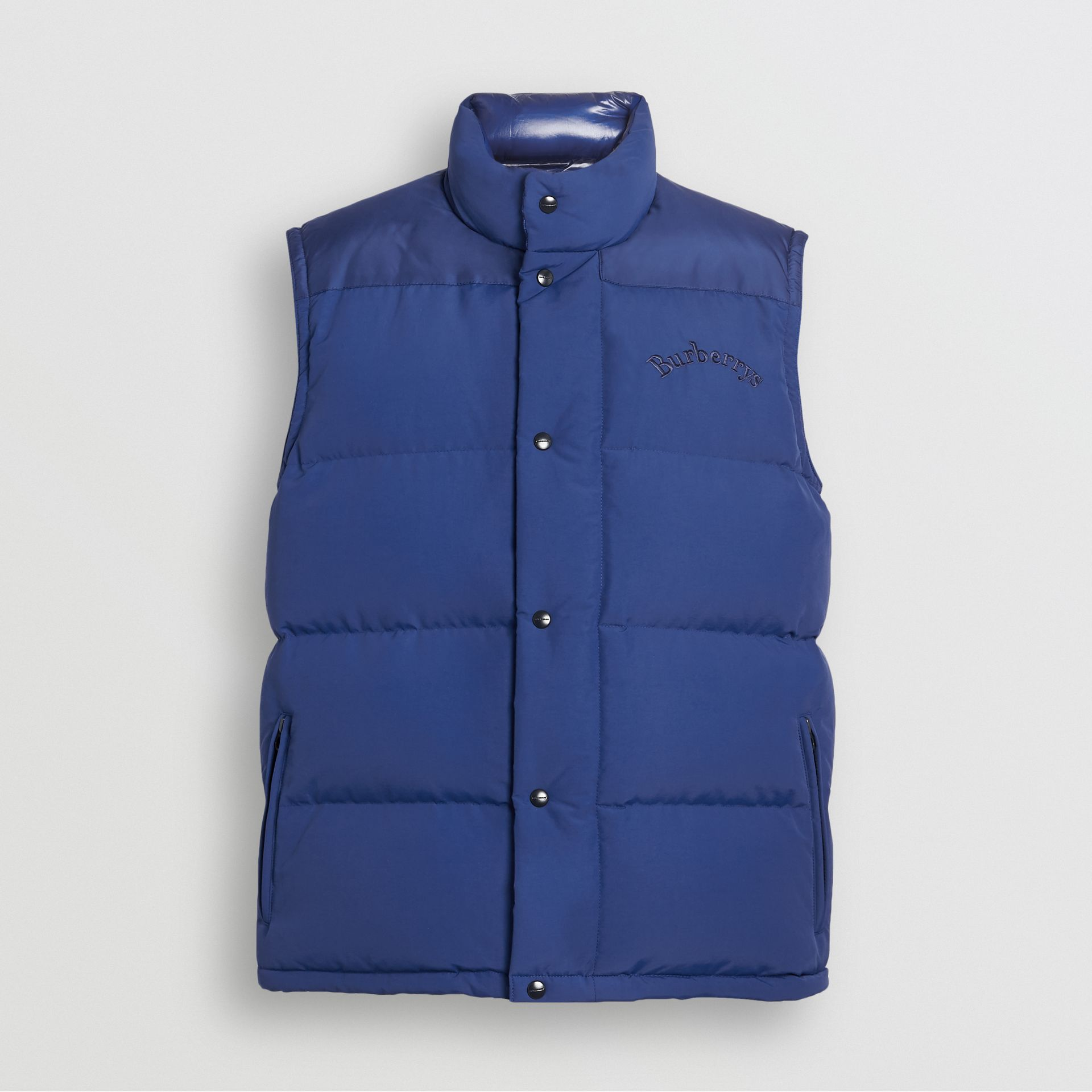 Embroidered Archive Logo Down-filled Gilet in Bright Blue - Men | Burberry United Kingdom - gallery image 3