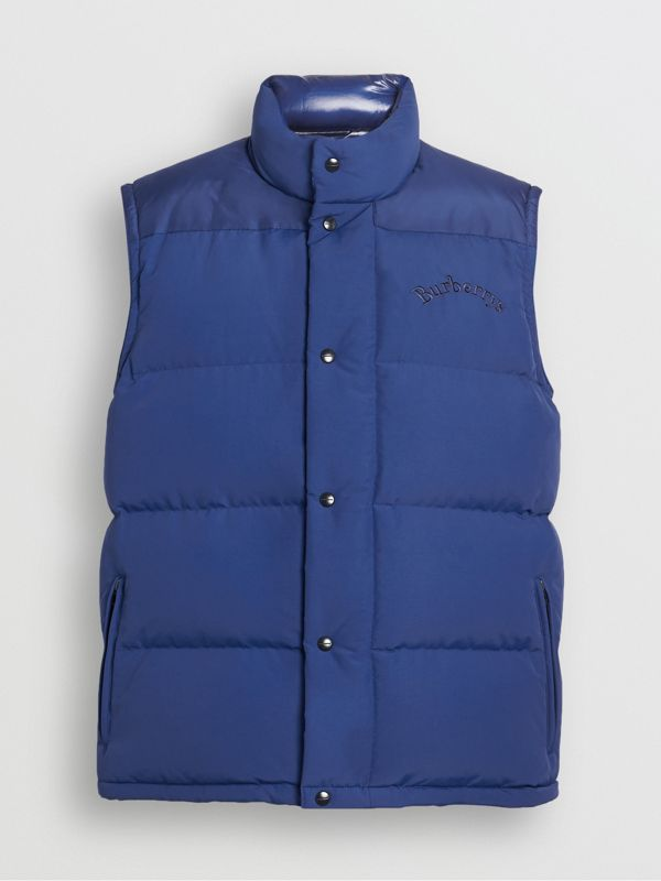 Embroidered Archive Logo Down-filled Gilet in Bright Blue - Men | Burberry United Kingdom - cell image 3