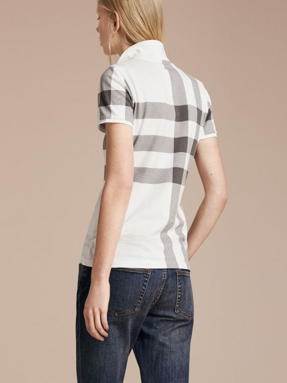 White Check Stretch Cotton Piqué Polo Shirt White - cell image 2