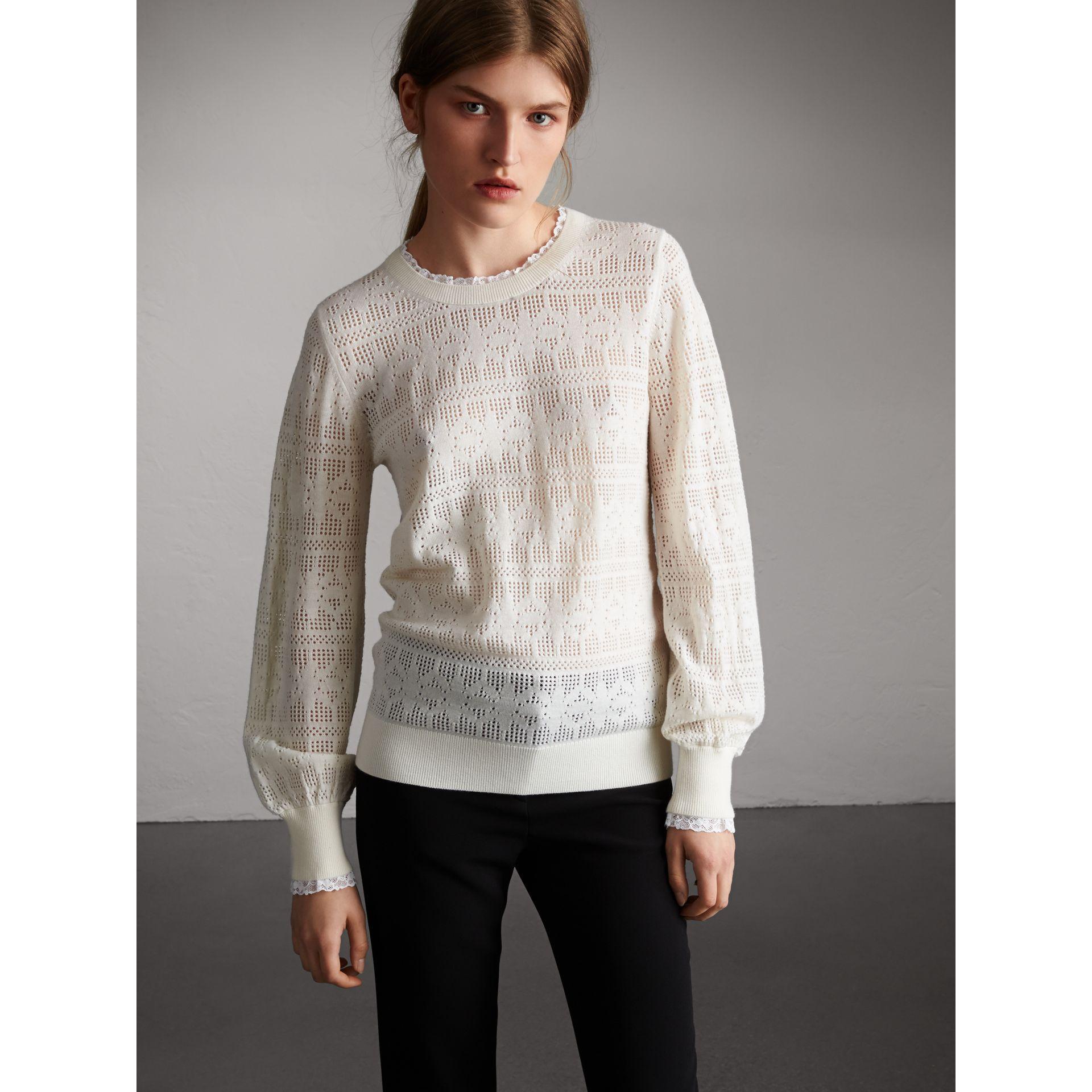 Lace Trim Pointelle Wool Cashmere Sweater in Natural White - Women | Burberry - gallery image 5