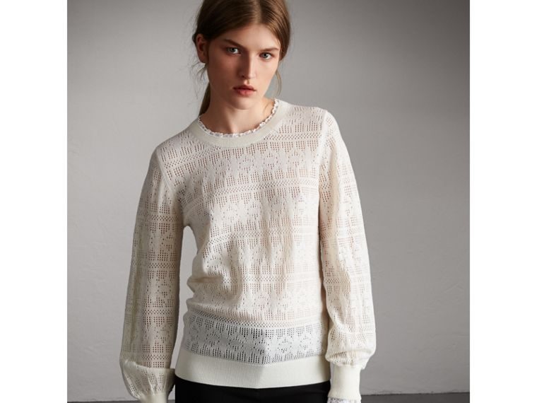 Lace Trim Pointelle Wool Cashmere Sweater in Natural White - Women | Burberry Australia - cell image 4