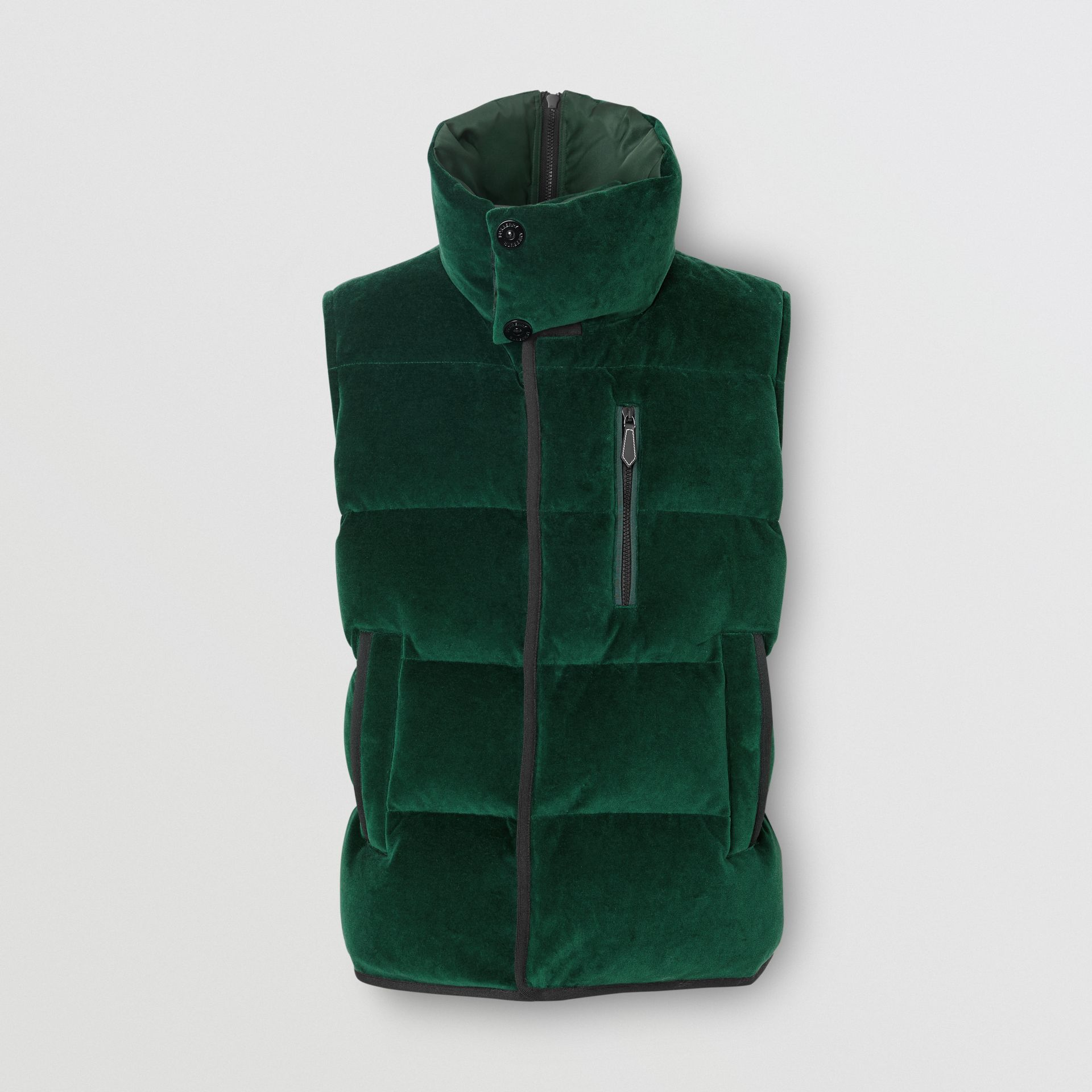 Satin Trim Chenille Puffer Gilet in Pine Green - Men | Burberry United Kingdom - gallery image 0