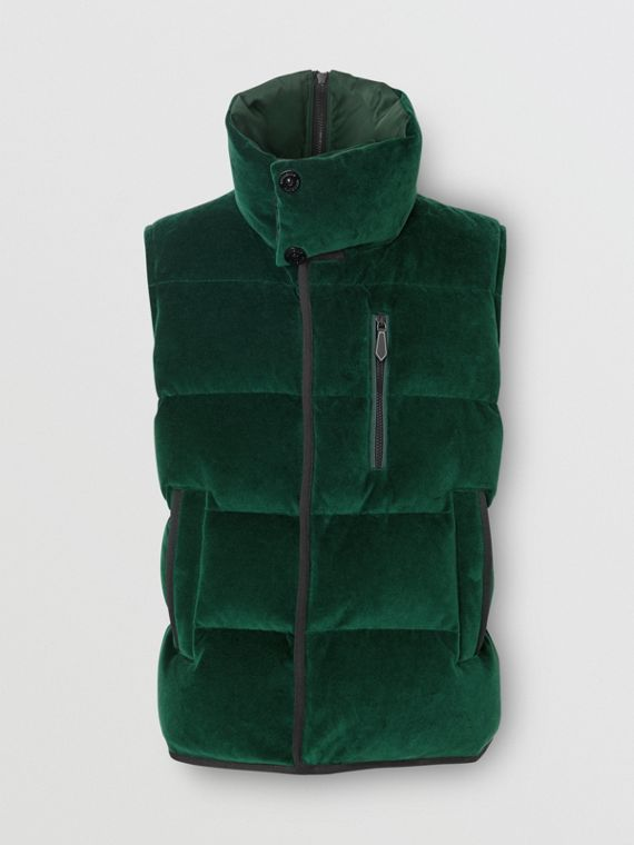 Satin Trim Chenille Puffer Gilet in Pine Green