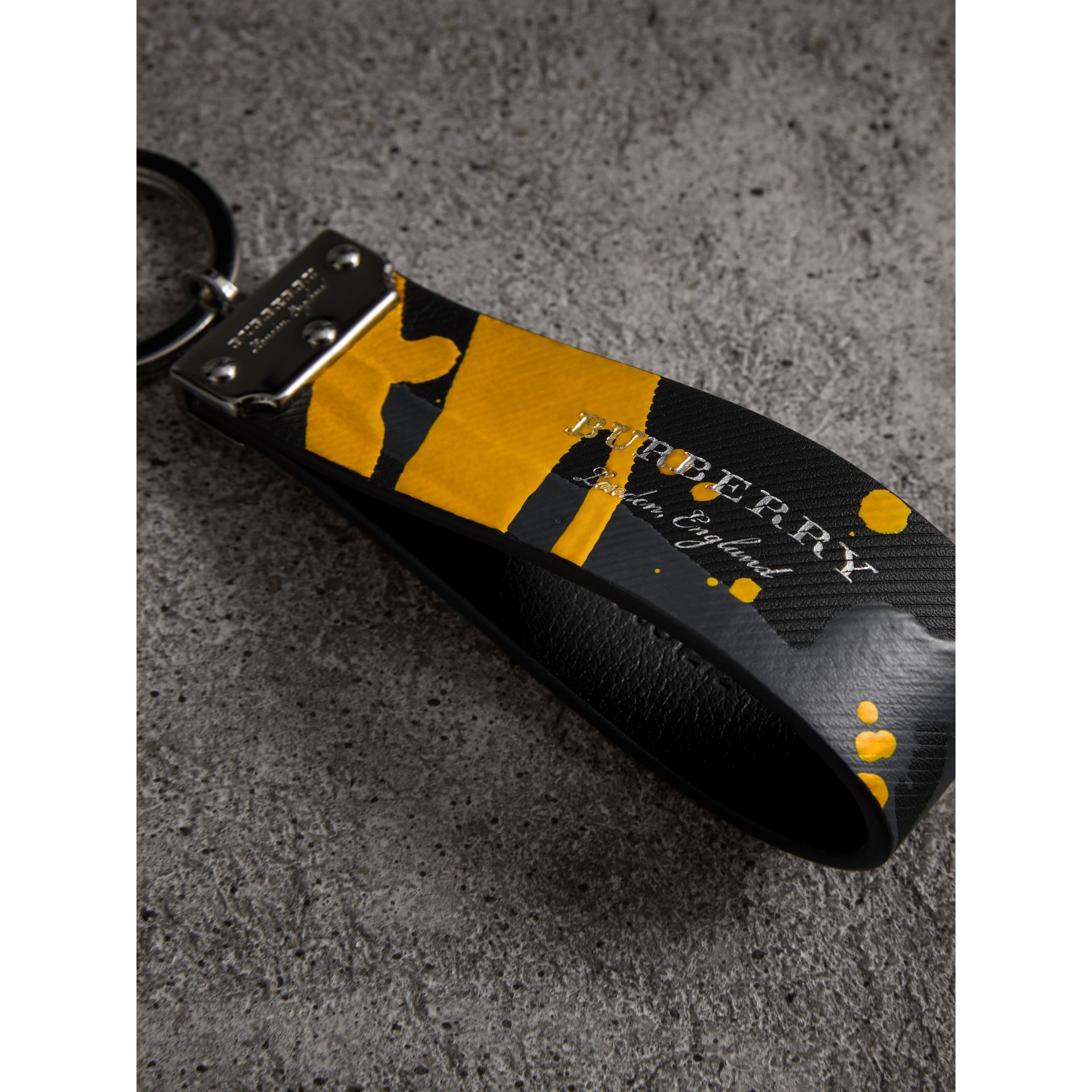 Splash Trench Leather Key Ring in Black/splash - Men | Burberry - gallery image 1