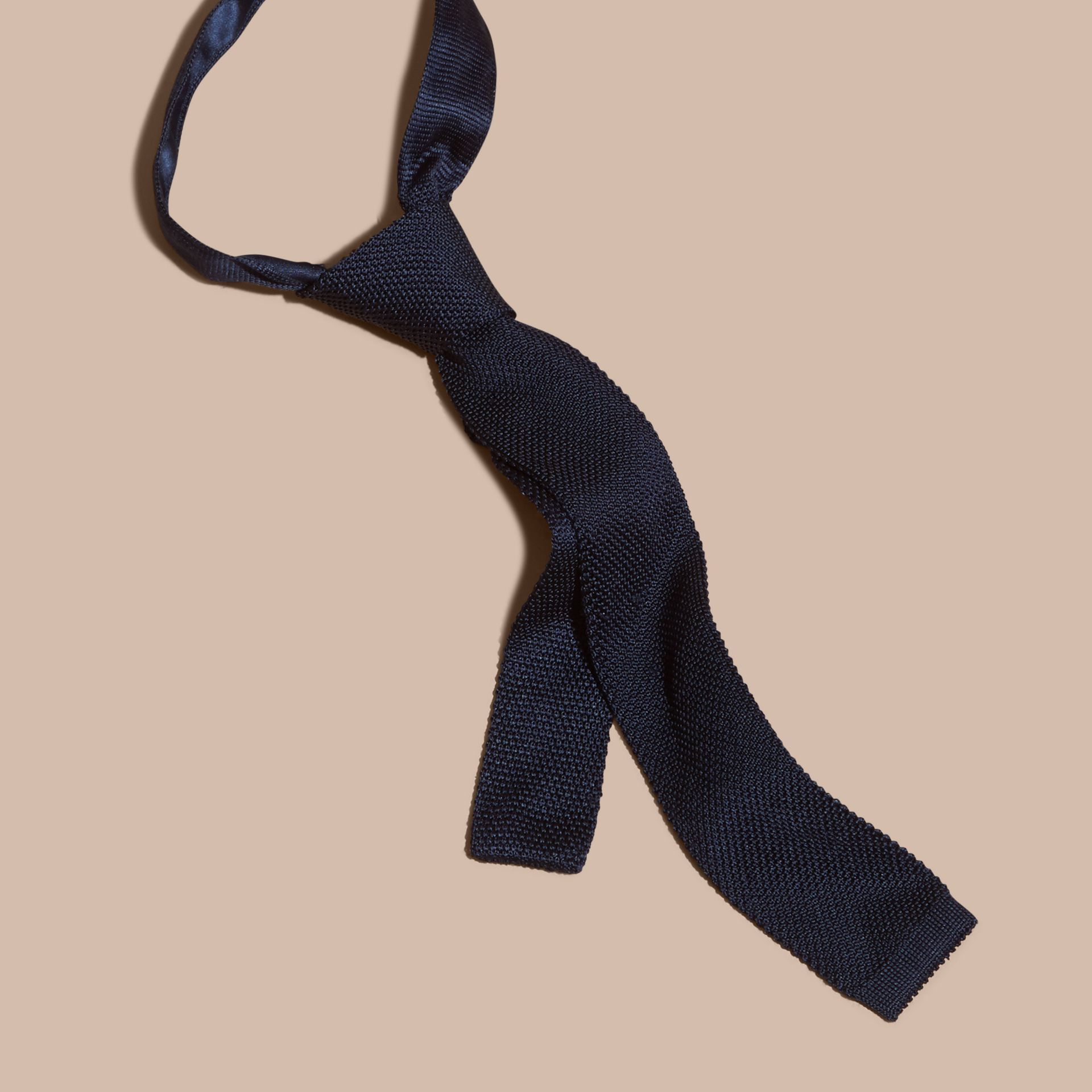 Navy Slim Cut Knitted Silk Tie Navy - gallery image 3