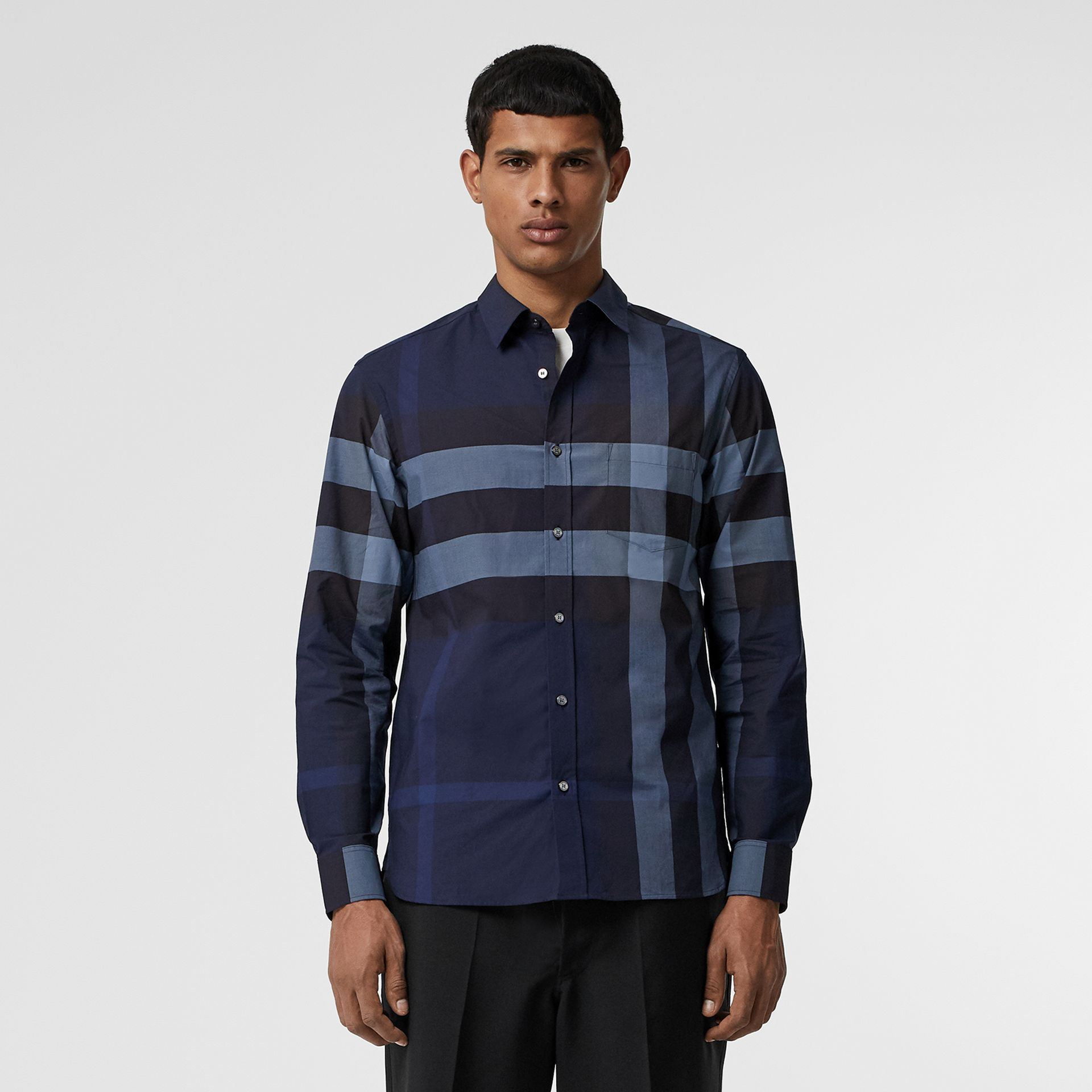 Check Stretch Cotton Shirt in Bright Navy - Men | Burberry - gallery image 0