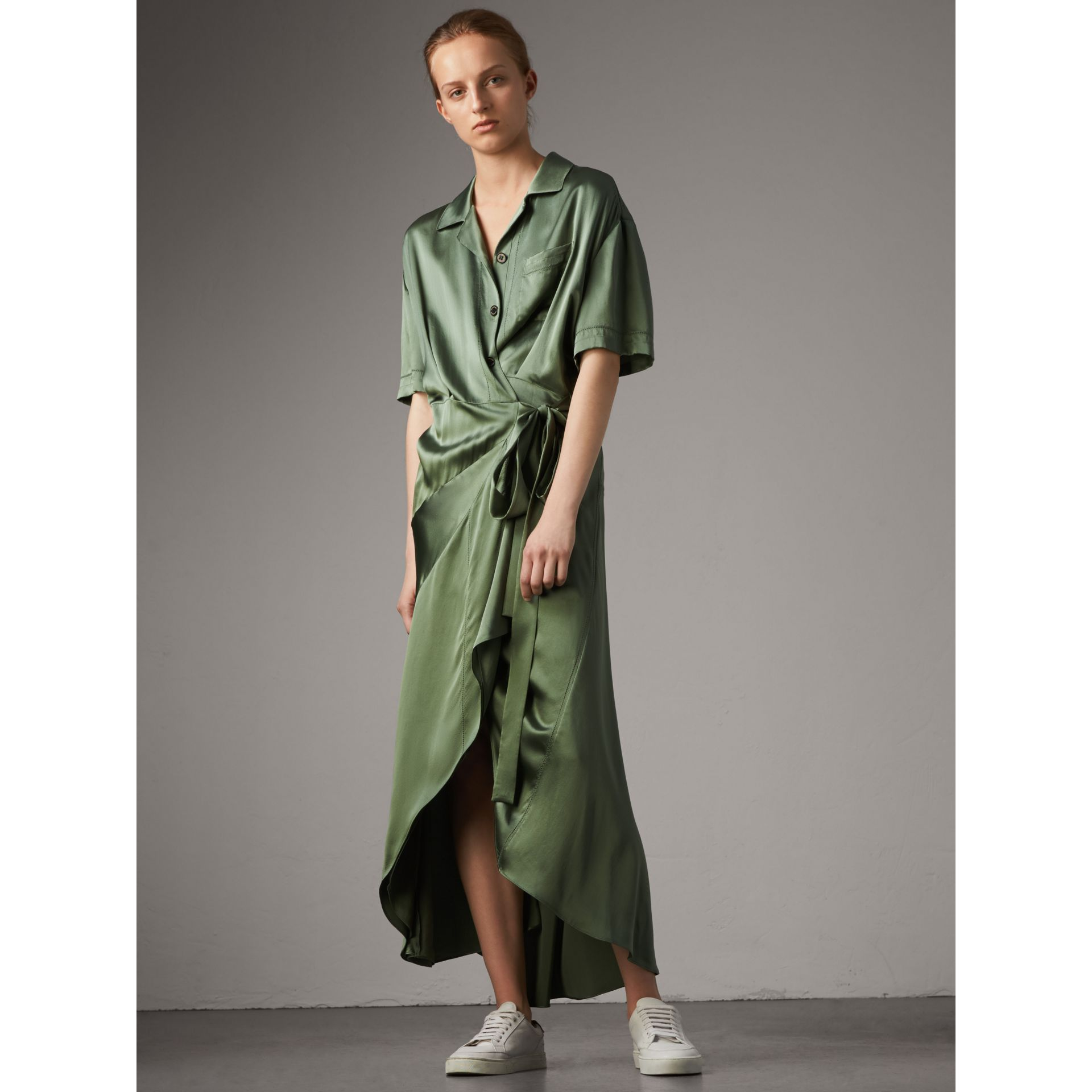 Washed Silk Satin Tie-waist Shirt Dress in Forest Green - Women | Burberry - gallery image 1