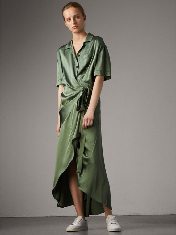 Washed Silk Satin Tie-waist Shirt Dress in Forest Green