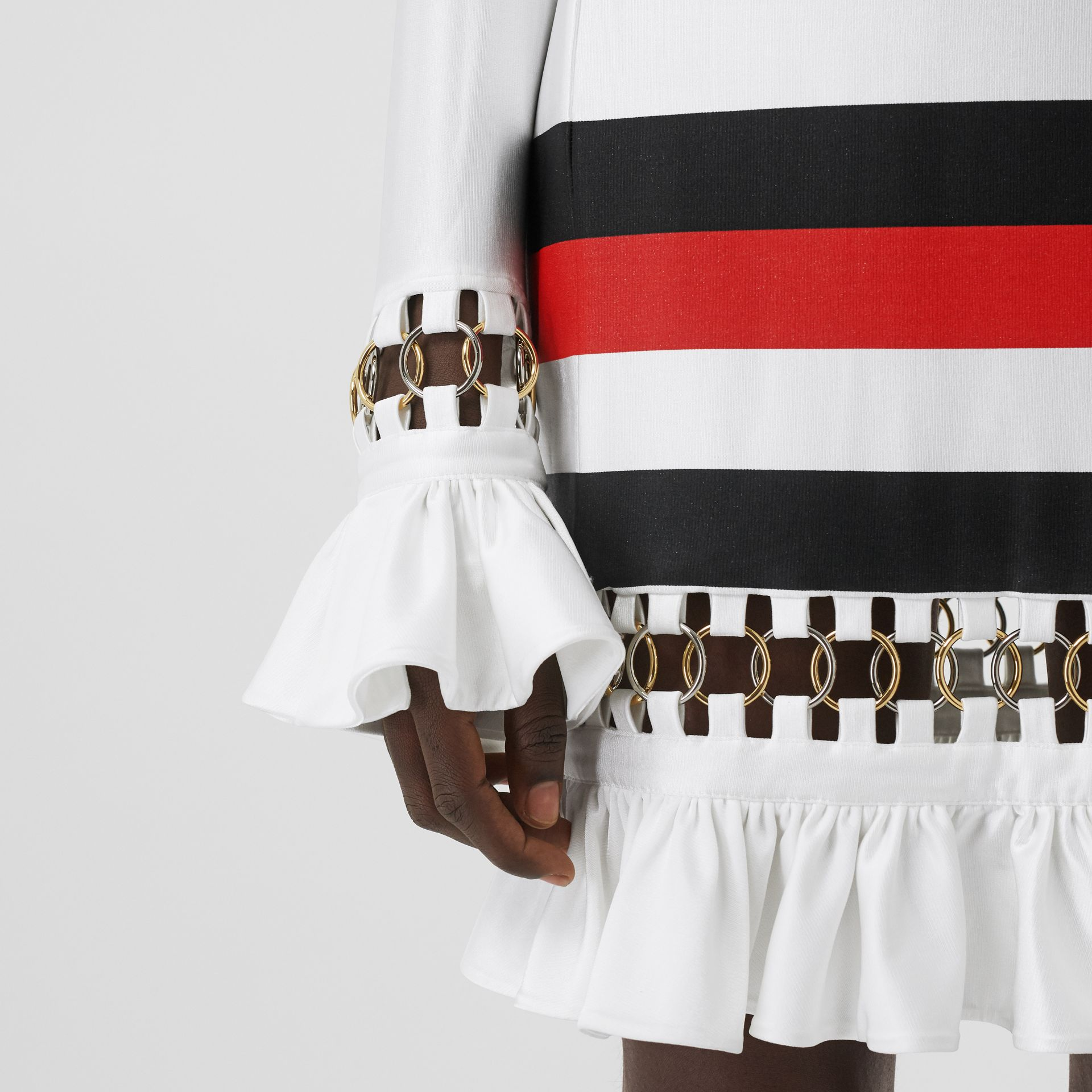 Ring-pierced Striped Stretch Jersey Mini Dress in Optic White - Women | Burberry - gallery image 4