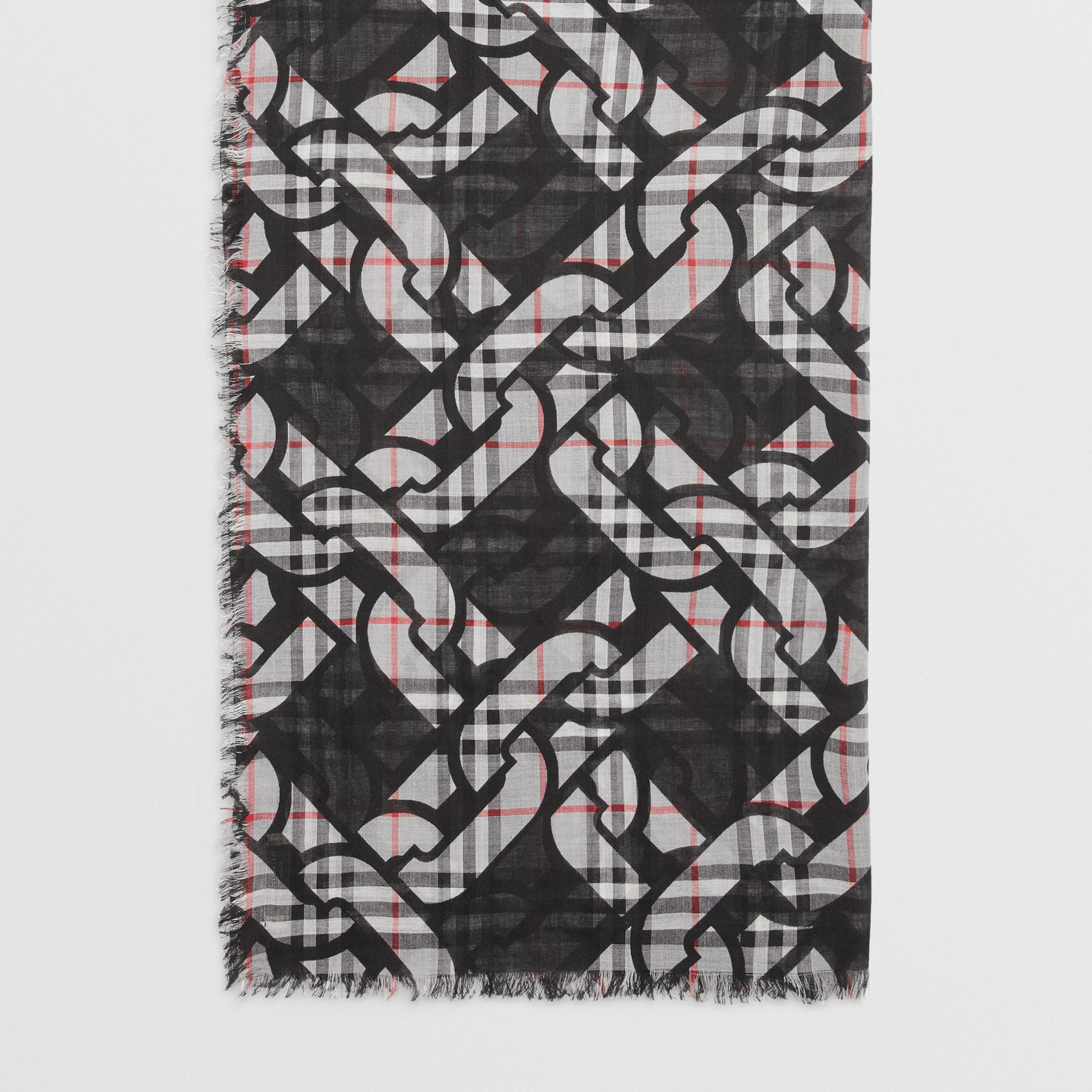 Link Print Vintage Check Large Square Scarf in Charcoal | Burberry Australia - gallery image 4