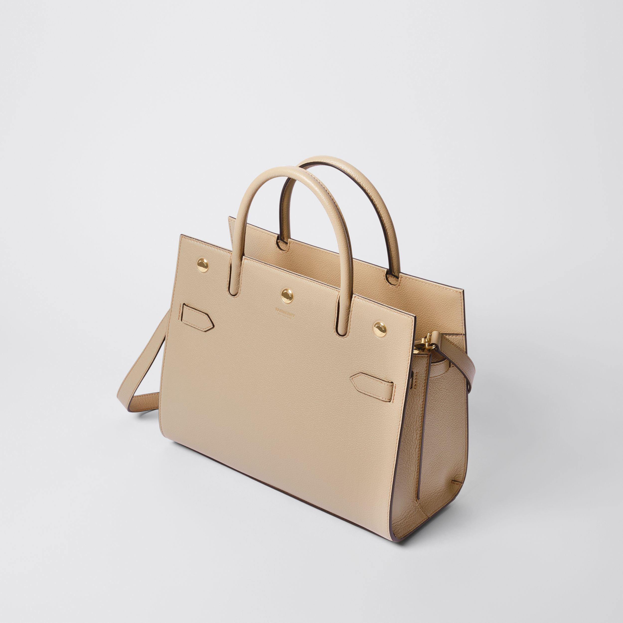 Small Leather Two-handle Title Bag in Light Beige - Women | Burberry Singapore - 4