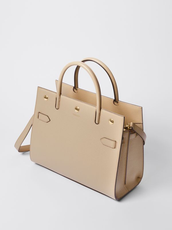 Small Leather Two-handle Title Bag in Light Beige - Women | Burberry Hong Kong S.A.R - cell image 3