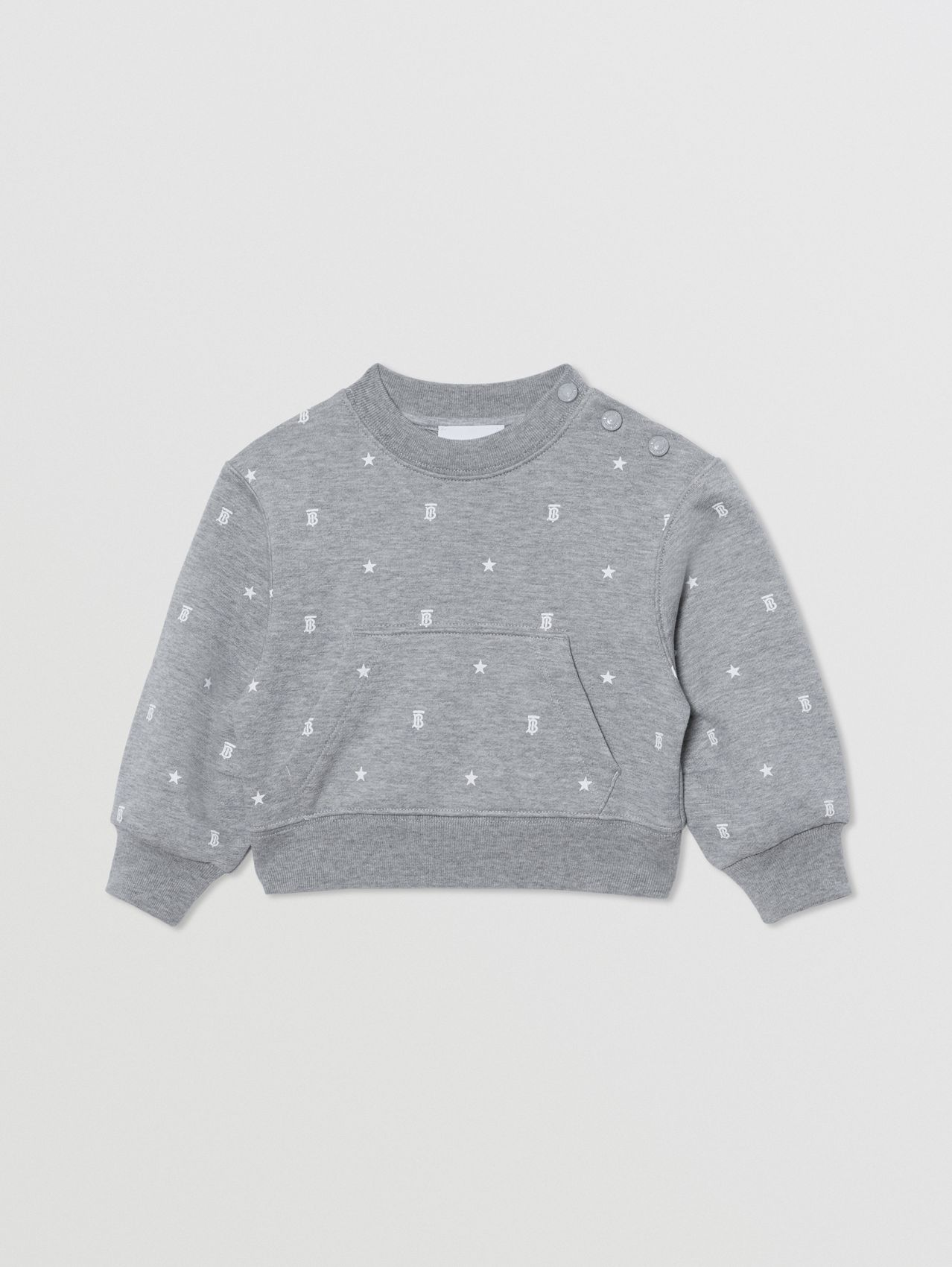 Star and Monogram Motif Cotton Sweatshirt in Grey