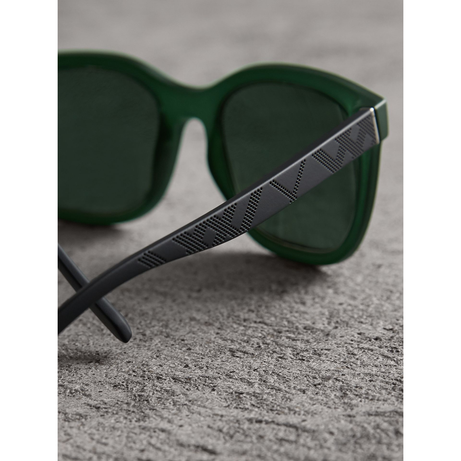 Embossed Check Detail Square Frame Sunglasses in Smokey Green - Men | Burberry - gallery image 2