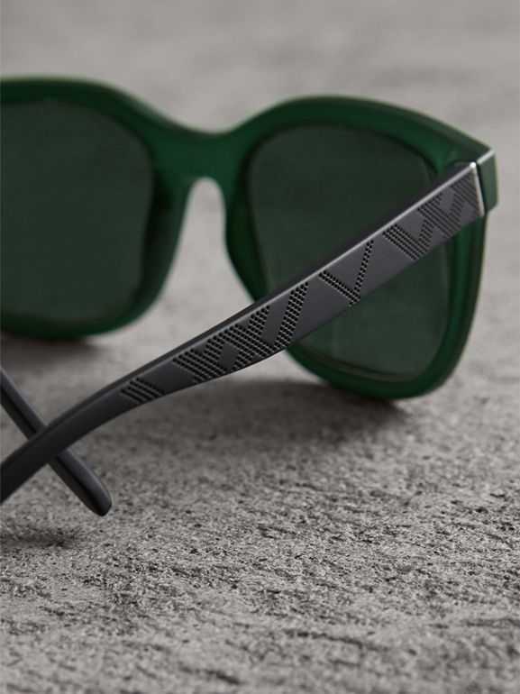 Embossed Check Detail Square Frame Sunglasses in Smokey Green - Men | Burberry Australia - cell image 1