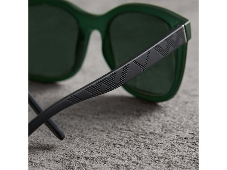 Embossed Check Detail Square Frame Sunglasses in Smokey Green - Men | Burberry - cell image 1