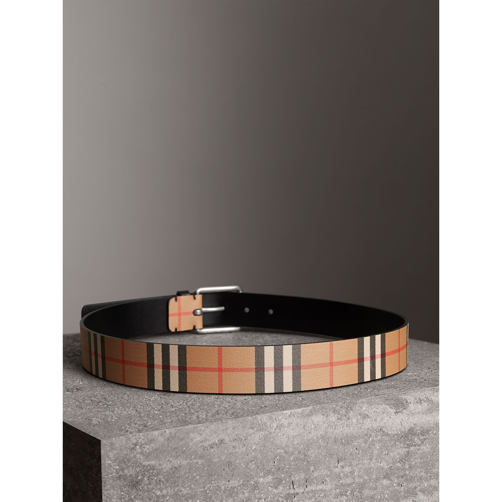 Vintage Check Leather Belt in Black - Men | Burberry - gallery image 2