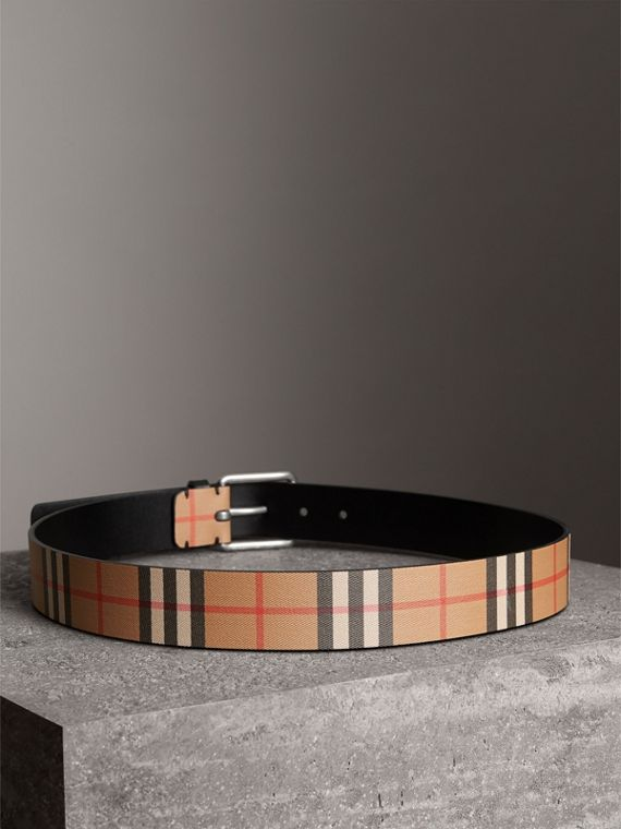 Vintage Check Leather Belt in Black - Men | Burberry - cell image 2