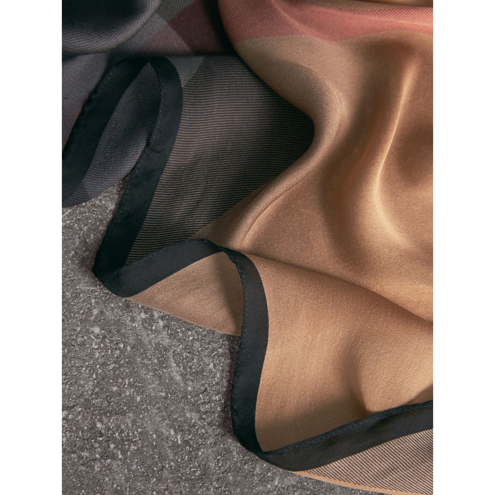 Ombré Washed Check Silk Scarf in Camel/black - Women | Burberry United Kingdom - gallery image 1