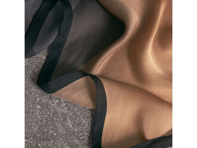 Ombré Washed Check Silk Scarf in Camel/black - Women | Burberry United Kingdom - cell image 1