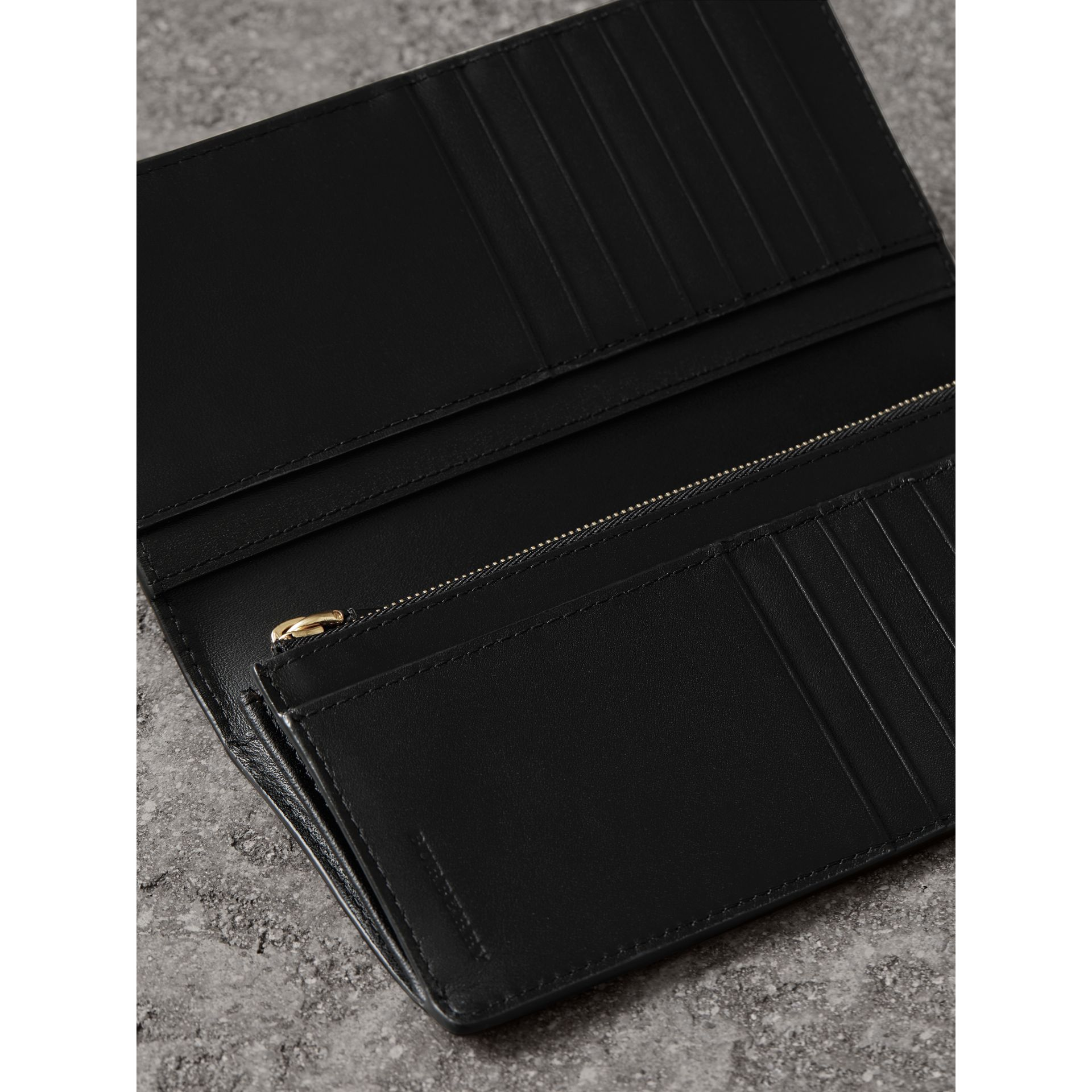 London Check and Leather Continental Wallet in Chocolate/black - Men | Burberry Canada - gallery image 4