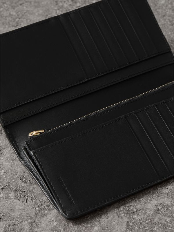 London Check and Leather Continental Wallet in Chocolate/black - Men | Burberry - cell image 3