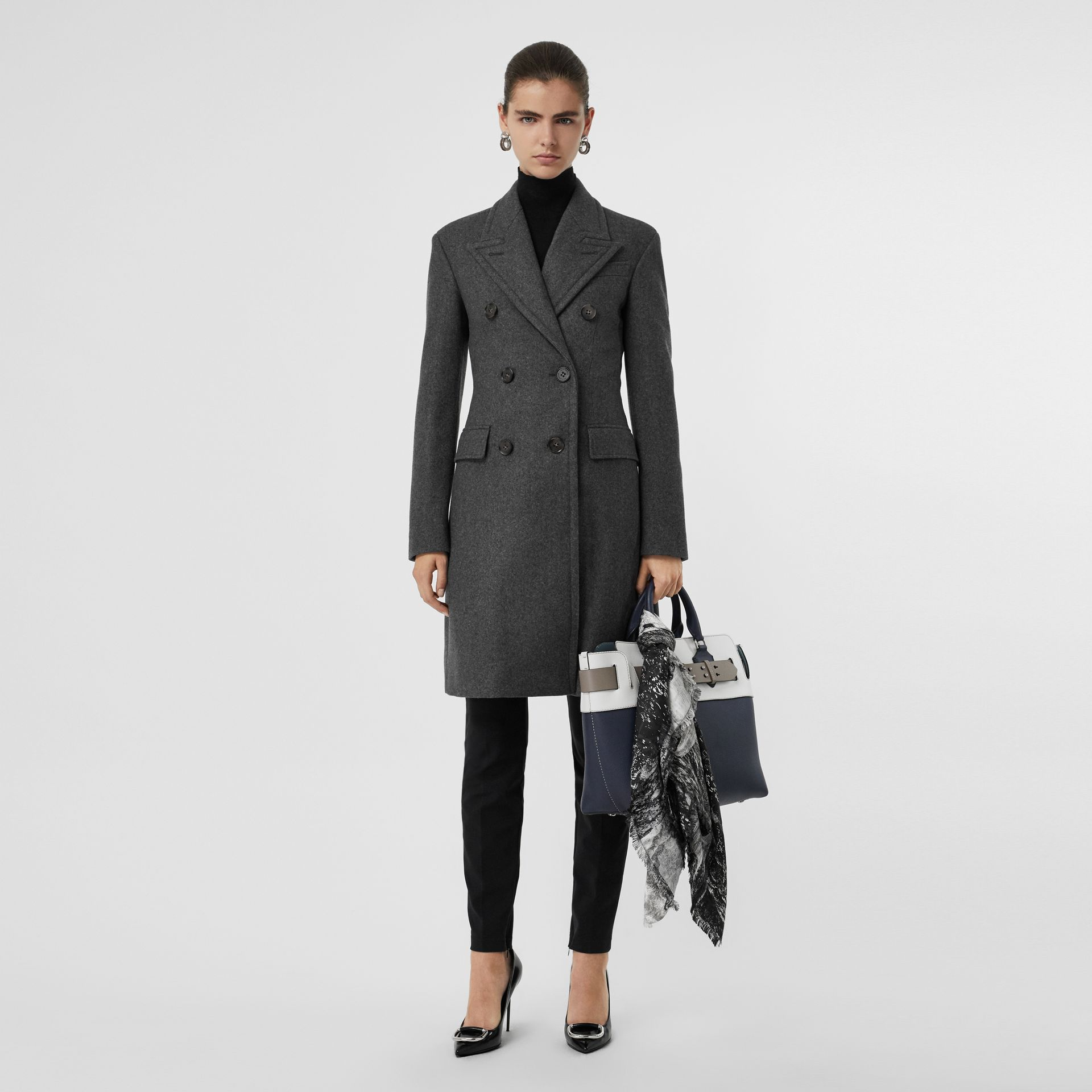 Double-breasted Wool Tailored Coat in Mid Grey Melange - Women | Burberry - gallery image 0
