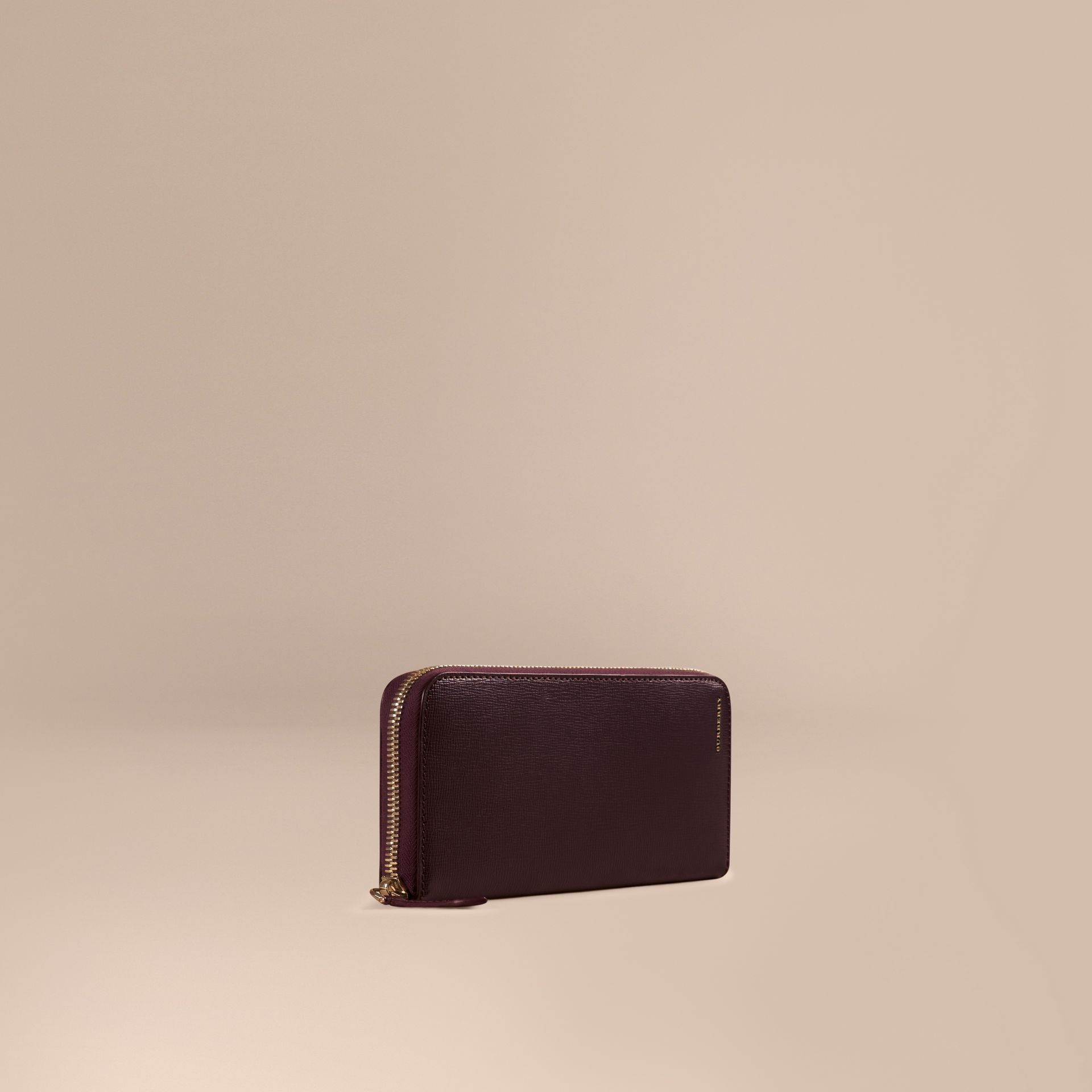 Wine London Leather Ziparound Wallet Wine - gallery image 1