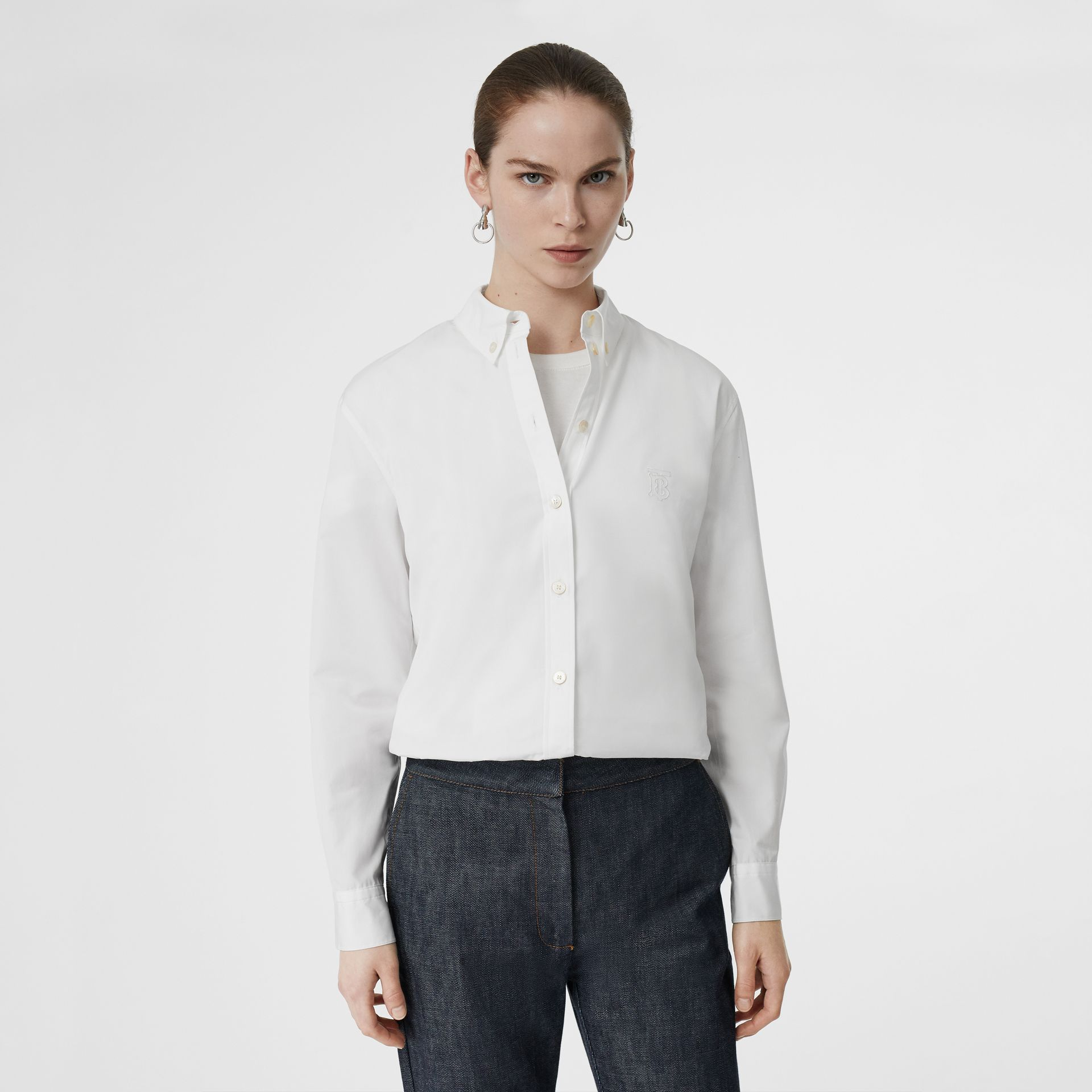 Button-down Collar Monogram Motif Cotton Shirt in White - Women | Burberry - gallery image 0