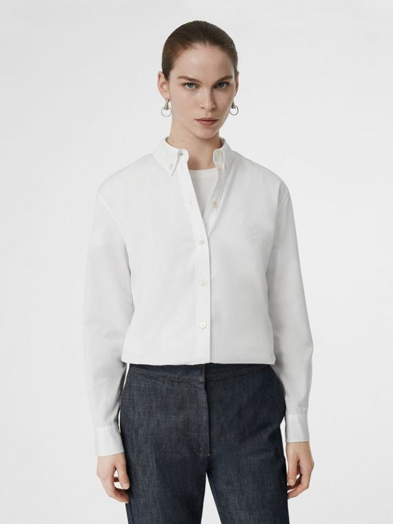 Button-down Collar Monogram Motif Cotton Shirt in White