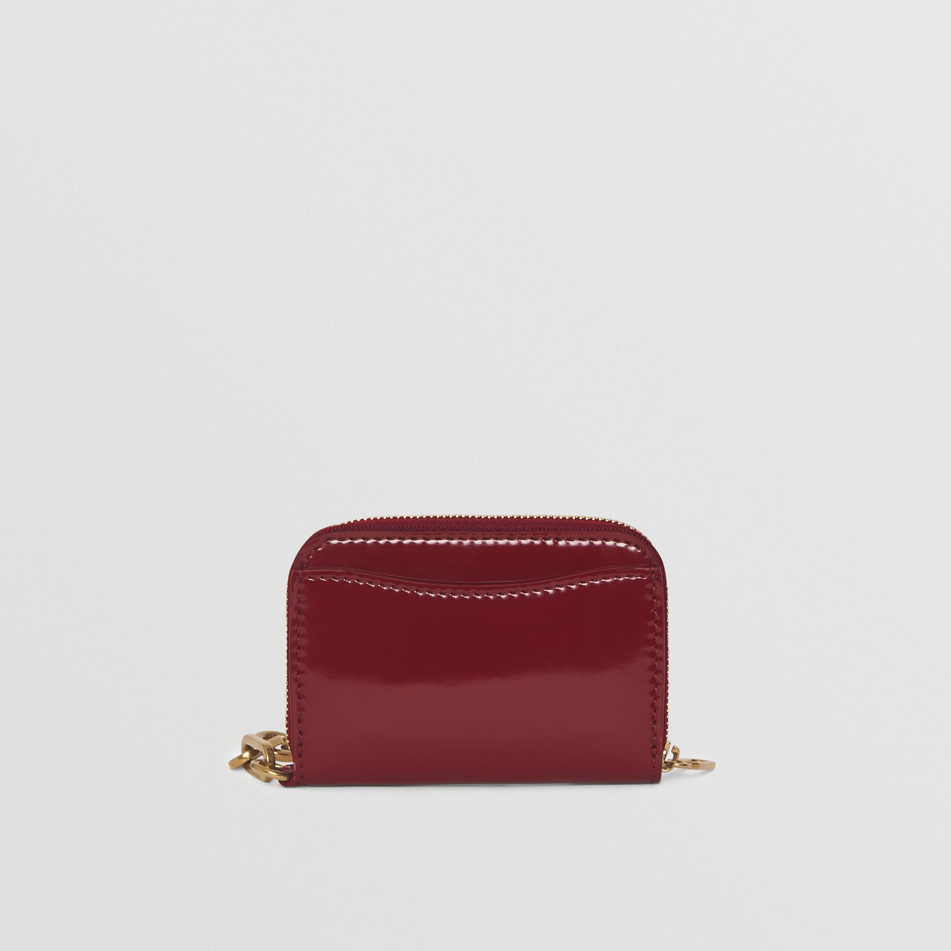 Link Detail Patent Leather Ziparound Wallet in Crimson - Women | Burberry - gallery image 5