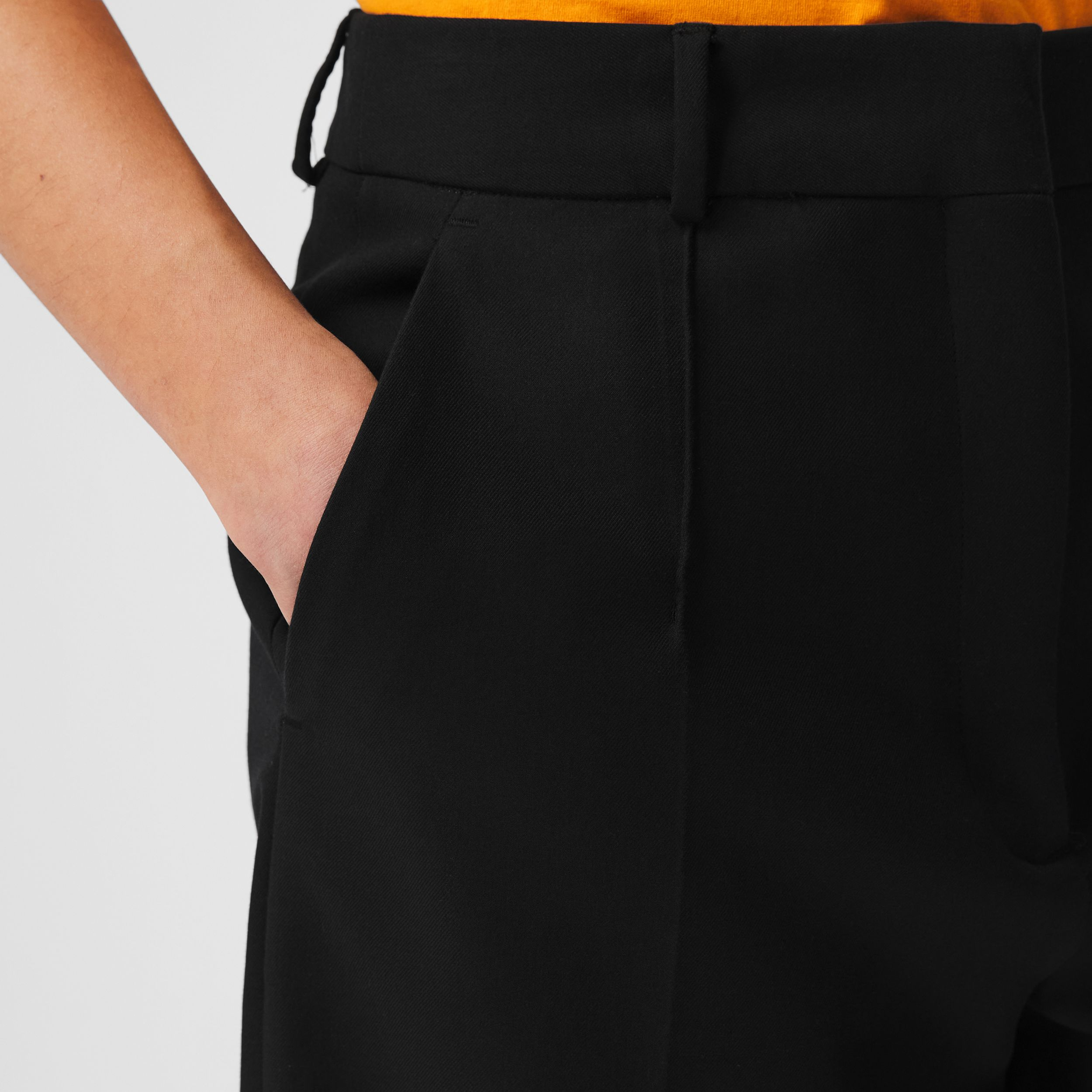 Cotton Twill Wide-leg Shorts in Black - Women | Burberry - 2