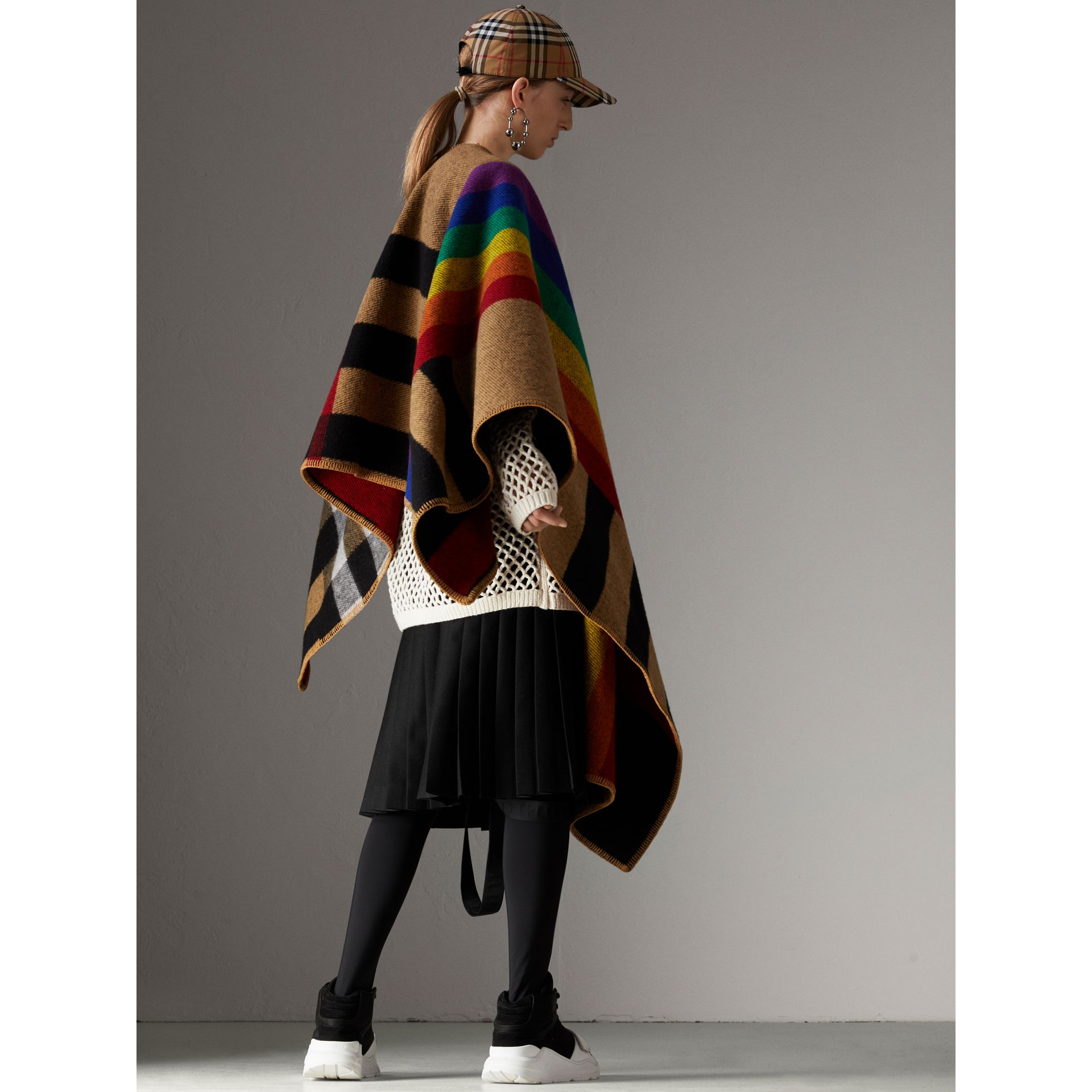 Rainbow Vintage Check Wool Cashmere Poncho in Antique Yellow/rainbow - Women | Burberry Australia - gallery image 2