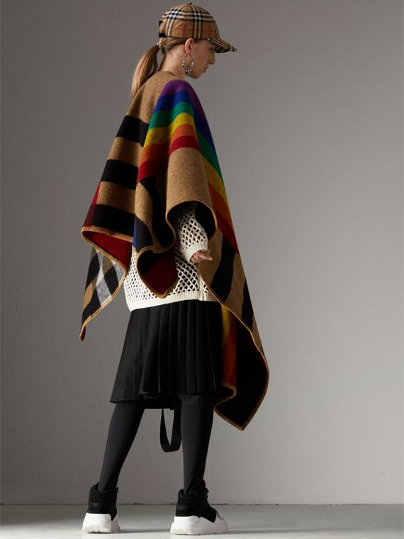 Rainbow Vintage Check Wool Cashmere Poncho in Antique Yellow/rainbow - Women | Burberry Canada - cell image 2