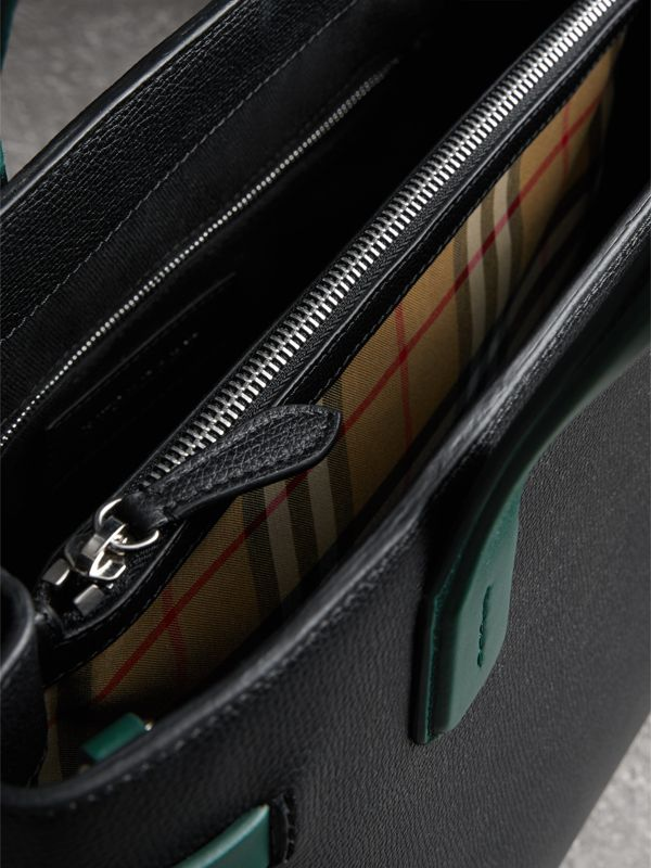 The Medium Banner in Two-tone Leather in Black/sea Green - Women | Burberry - cell image 3