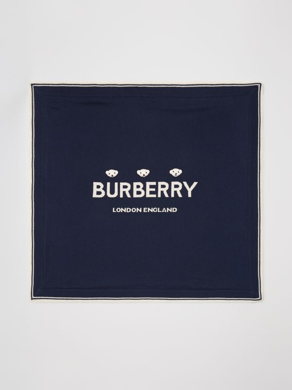 Thomas Bear Detail Wool Cashmere Baby Blanket in Navy - Children | Burberry Singapore - cell image 3