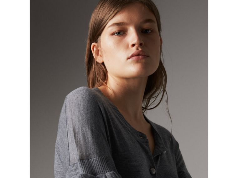Ruffle-sleeve Braid Detail Wool Cashmere Cardigan in Mid Grey Melange - Women | Burberry United Kingdom - cell image 1