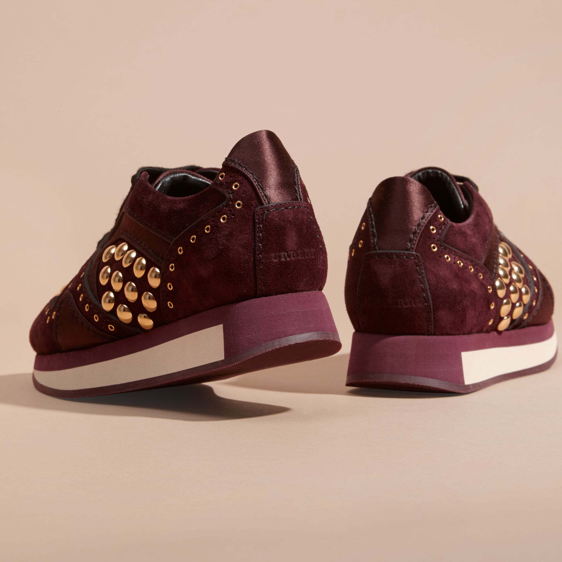 Dark mahogany The Field Sneaker in Studded Suede Dark Mahogany - gallery image 4