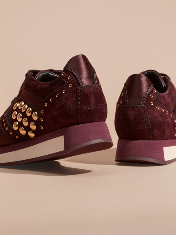 Dark mahogany The Field Sneaker in Studded Suede Dark Mahogany - cell image 3