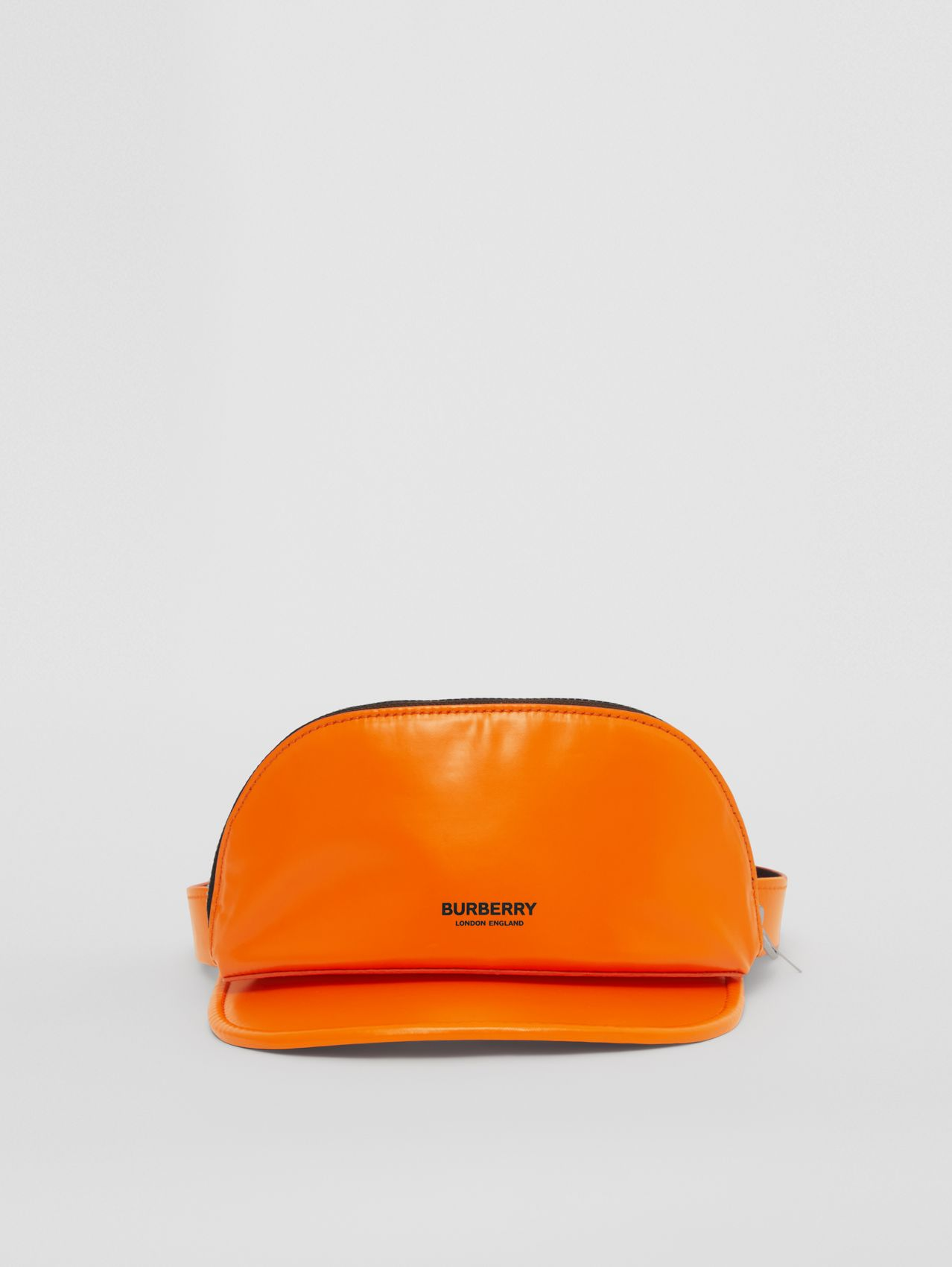 Rubberised Cotton Visor with Detachable Zip Pocket in Deep Orange