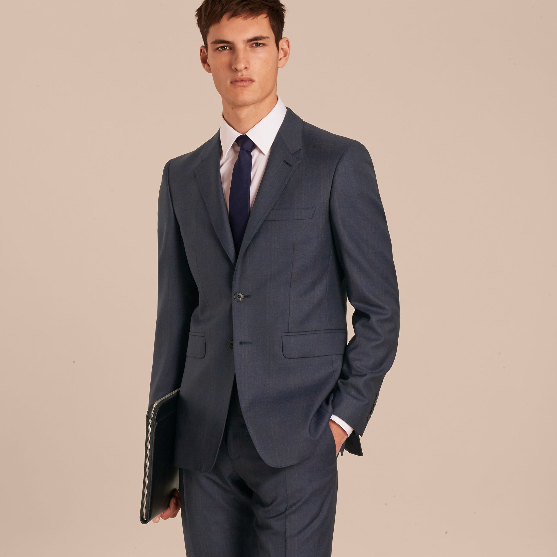 Navy Modern Fit Wool Half-canvas Suit - gallery image 8