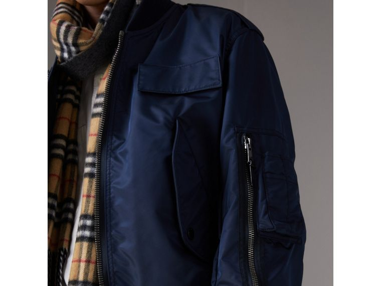 Zip Detail Cropped Bomber Jacket in Navy - Men | Burberry - cell image 1