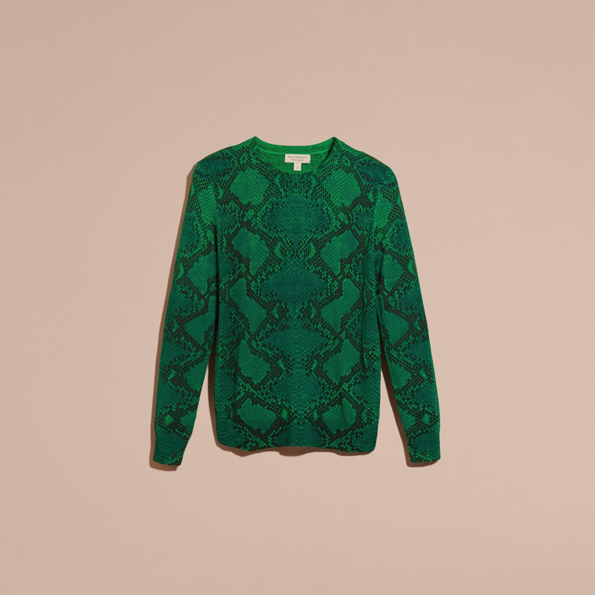 Verde pigmento Suéter de lã Merino com estampa de píton e detalhe xadrez Verde Pigmento - galeria de imagens 4