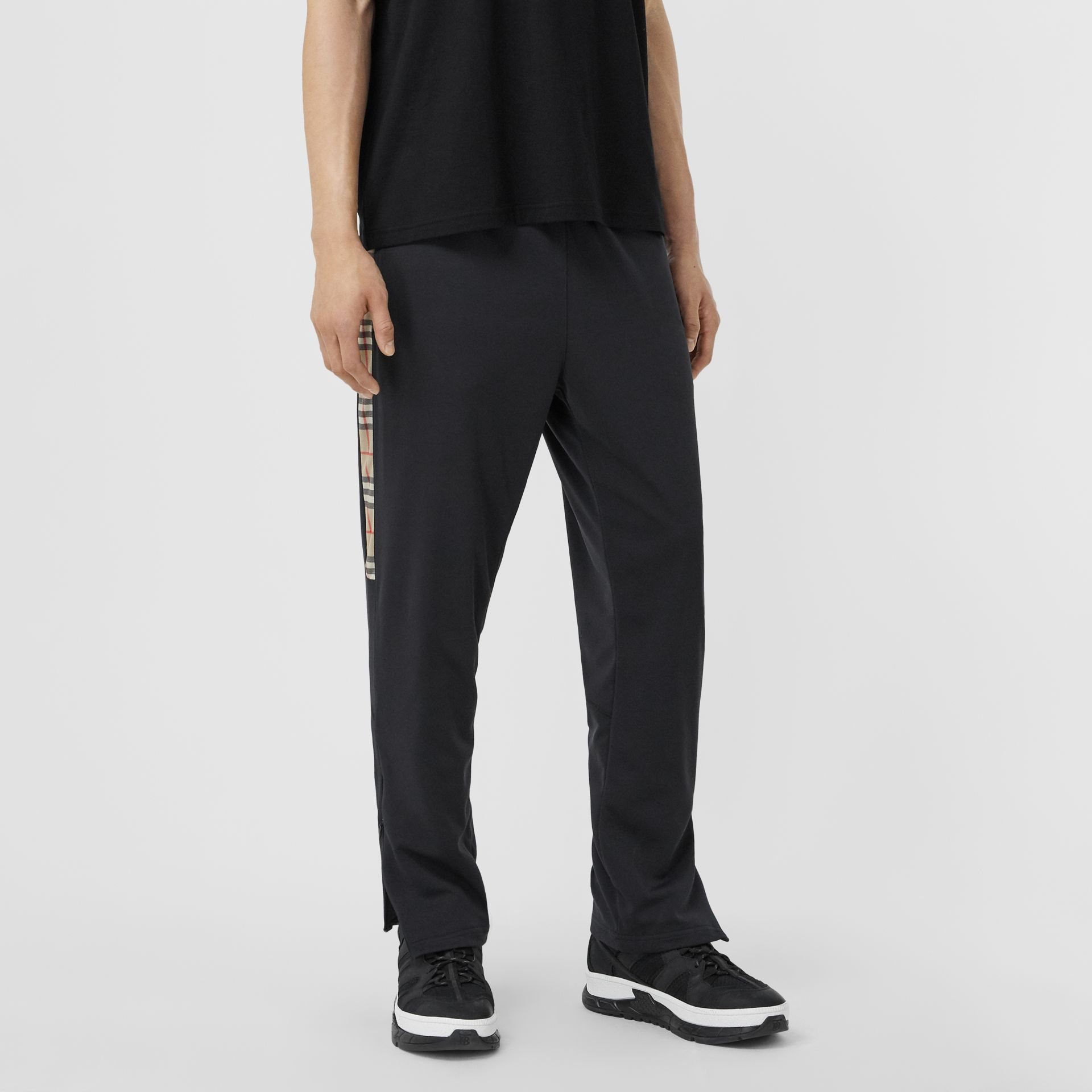 Vintage Check Trim Technical Twill Trackpants in Black - Men   Burberry - gallery image 4