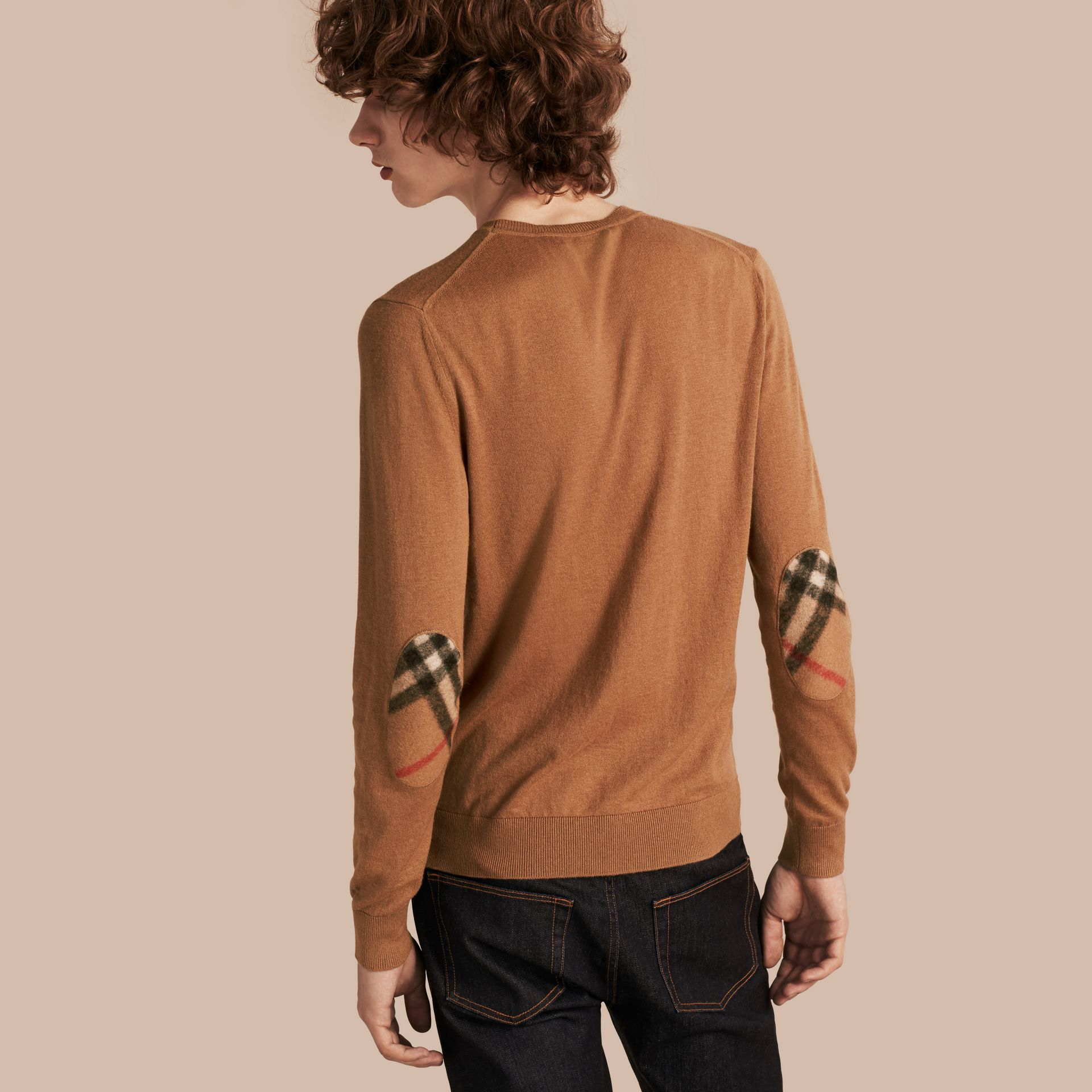 Check Trim Cashmere Cotton Sweater Camel - gallery image 1
