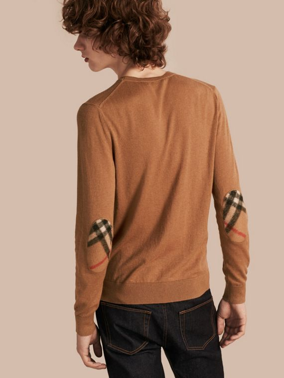 Check Trim Cashmere Cotton Sweater in Camel